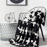 Knitted Reversible Swiss Cross Baby Blanket - Cozy Nursery