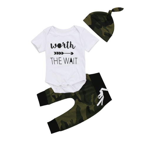 White Shirt Camouflage Pants - Cozy Nursery
