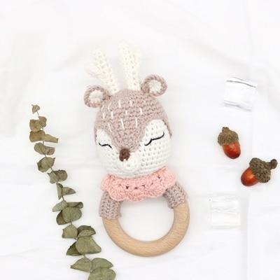 Handmade Crochet Wood Baby Teether - Cozy Nursery