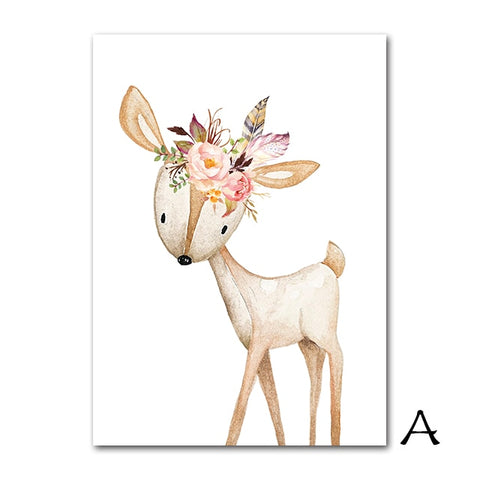 Floral Woodland Animals Poster - Cozy Nursery