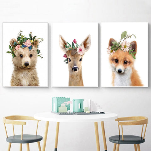 Flower Baby Animal Canvas Prints - Cozy Nursery