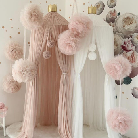 Chiffon Pompoms for Princess Bed Canopy