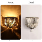 European retro wooden beads wall lamp bedroom bedside cafe LED wall lights holiday makeup room personality decorative lighting