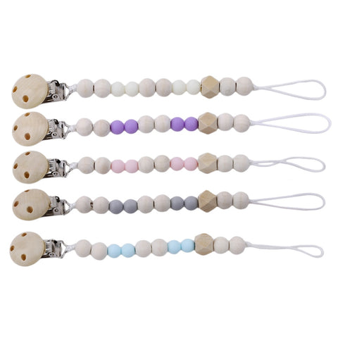 Wooden Baby Chain Pacifier - Cozy Nursery