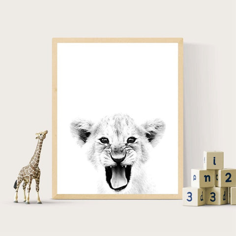 Lion Cub Black White Poster - Cozy Nursery