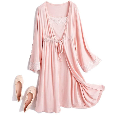 Lace Maternity Nightgown and Robe