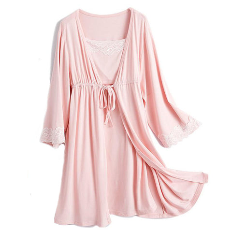 Lace Maternity Nightgown and Robe - Cozy Nursery