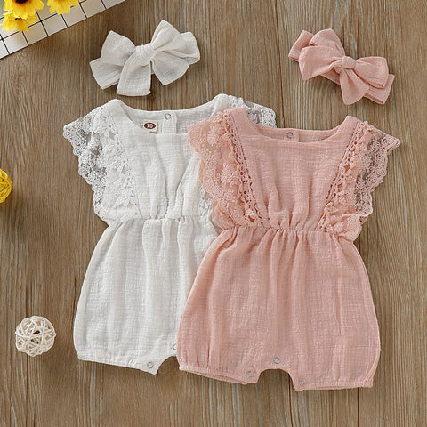 Summer Lace Cotton Romper