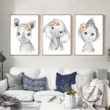 Safari Animals & Flower Poster - Cozy Nursery