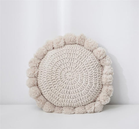 Knitted Sunflower Pompoms Pillow