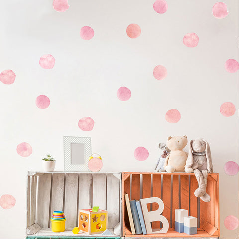 Watercolor Pink Dots Wall Decals