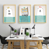 Art Nordic Animals Bear Hippo Poster Print Nursery Poster