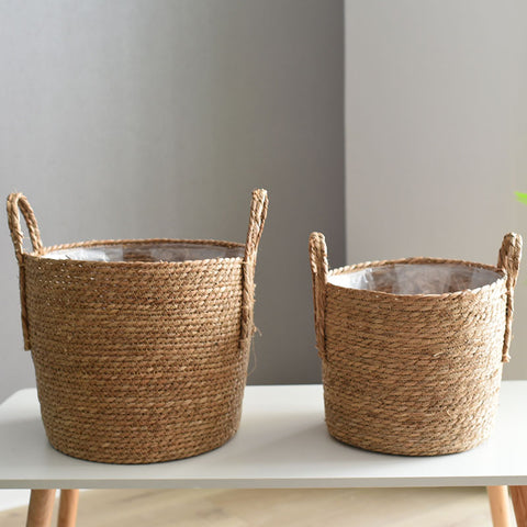 Rattan Storage Basket & Floor Plant Pot