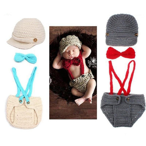 Knitted Newborn Suspender Pants