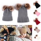 Matching Family Pompom Hat Set