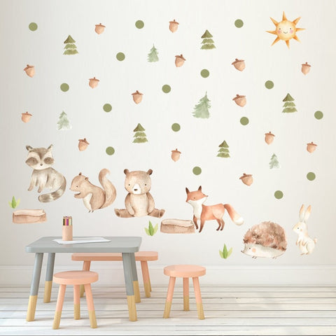Forest Cartoon Animals Wall Stickers