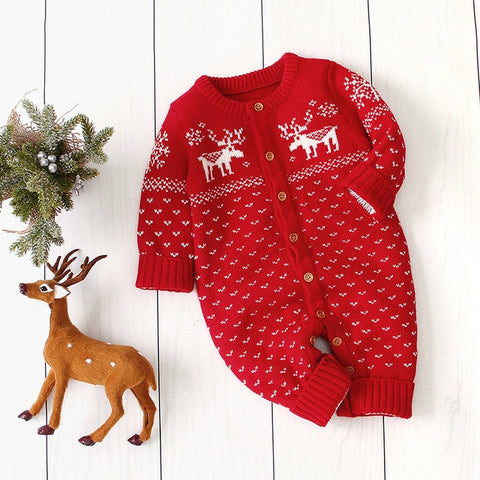 Knitted Button Deer Jumpsuit