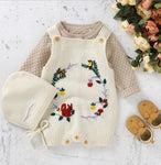 Floral Knitted Romper with Bonnet