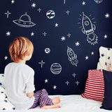 Space wall decals for baby nursery kids room decor design reusable wall stickers