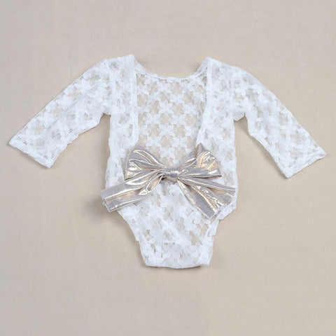 Baby Girl Lace Romper with Bow - Cozy Nursery