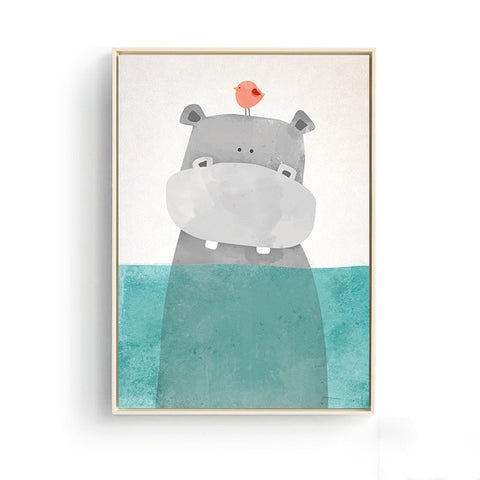 Nordic Cute Animals Bear Hippo Penguins Poster - Cozy Nursery