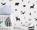Nordic Style Forest Animal Wall Decals - Cozy Nursery