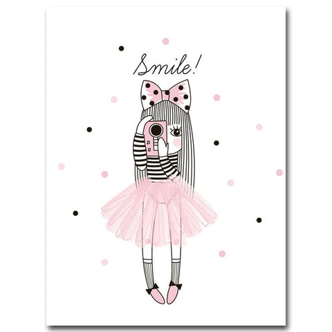 Cartoon Girl Unicorn Flamingo Poster