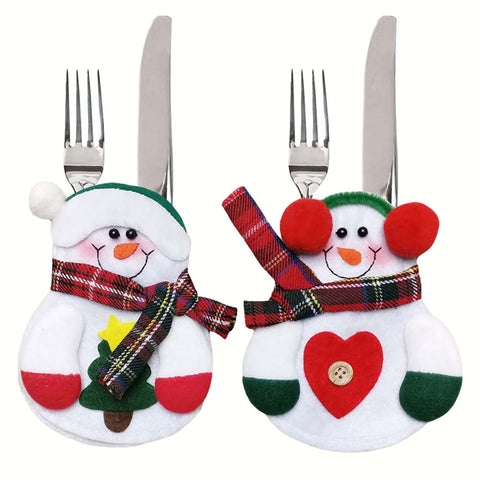 2pcs Snowman Christmas Fork Set Holder