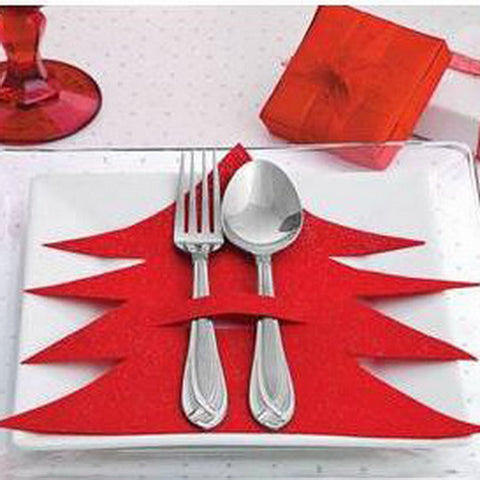 8pcs Christmas Tree Christmas Stocking Bags Dining Table Knife Fork Holder