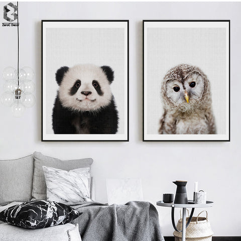 Panda and Owl Poster - Cozy Nursery