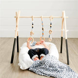 Nordic Wooden Baby Gym With Accessories