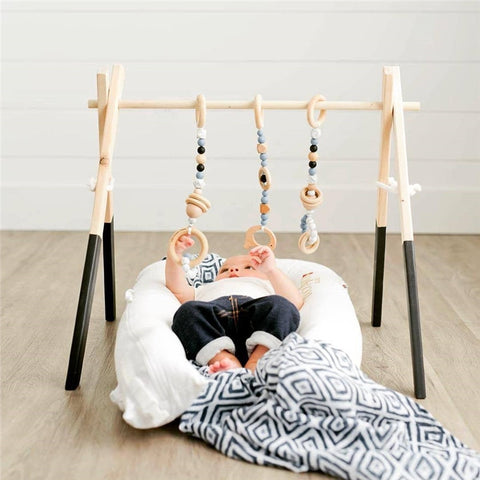 Nordic Wooden Baby Gym With Accessories - Cozy Nursery