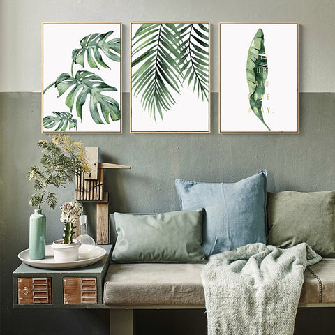 Watercolor Plant Green Leaves Canvas Poster - Cozy Nursery