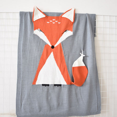Fox Knitted Baby Blanket - Cozy Nursery
