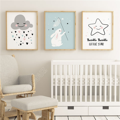 Clouds Stars Living Room Decor Home Poster - Cozy Nursery