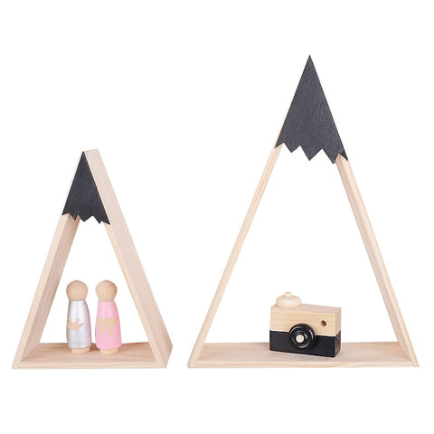 Nordic Style Nursery Kids Room Decoration Triangle Wooden Shelf