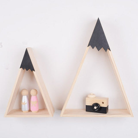 Nordic Style Nursery Kids Room Decoration Triangle Wooden Shelf - Cozy Nursery