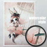 Nursery Bunny on the Moon with the Mask Watercolor Poster