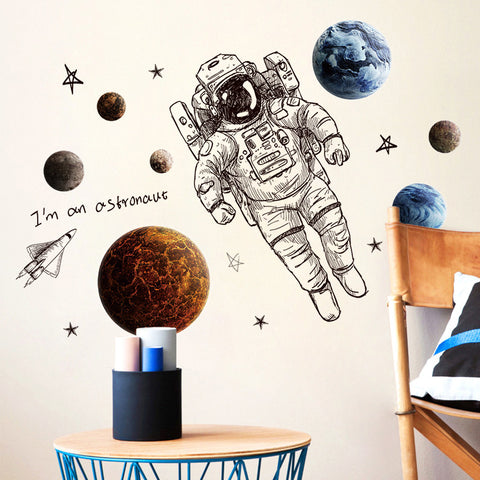 Space Astronaut Wall Stickers - Cozy Nursery