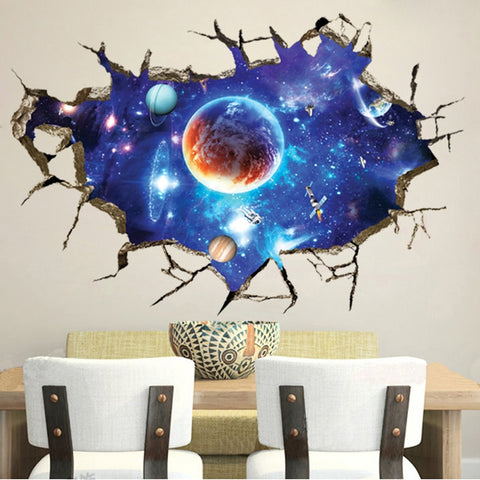 3D Space Planet Broken Wall Stickers