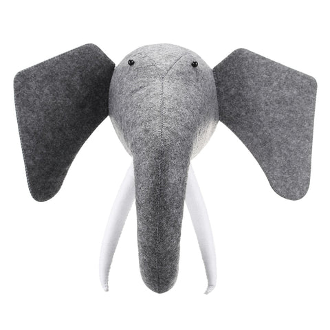 3D Felt Animal Elephant Head - Cozy Nursery