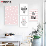 Pink Cartoon Nursery Posters - Cozy Nursery