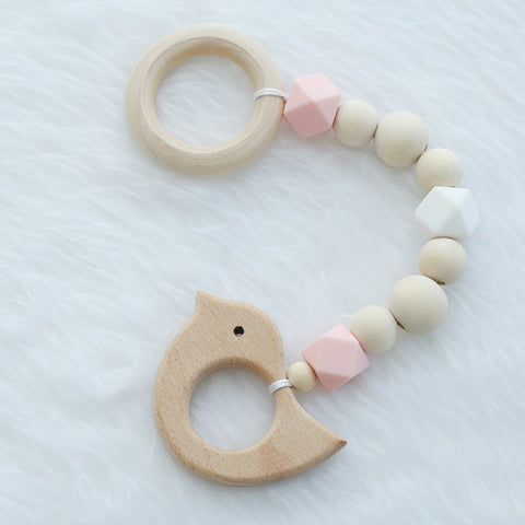 Wooden Baby Gym Wood/Silicone Bead Hanging Pendant Decoration