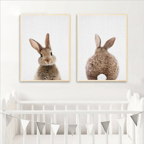 Bunny Rabbit Tail Canvas Colour Image - Cozy Nursery