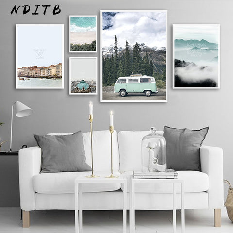 Scandinavian Style Travel Landscape Canvas Wall Poster - Cozy Nursery