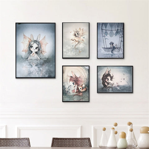 Modern Nursery Rabbit Watercolor Posters - Cozy Nursery