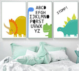 Alphabet Dinosaur Crocodile Wall Art Posters