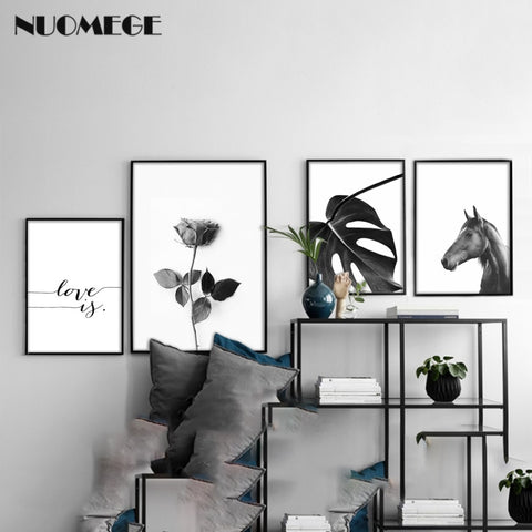 Black and White Horse Flower Wall Art Canvas Poster Print Nordic Style