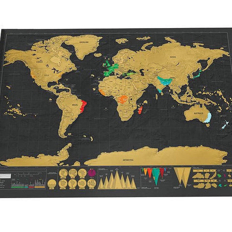 Deluxe Travel Edition Scratch Off World Map - Cozy Nursery
