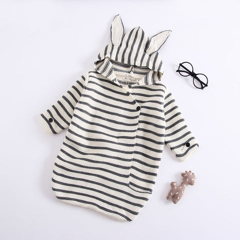 Stripes Baby Romper Bunny Ears Knitted